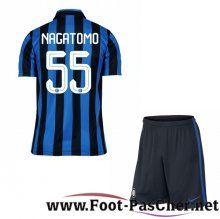 Nouveau Maillots Inter Milan Bleu/Noir Enfant NAGATOMO 55 Domicile 15 2016 2017 Pas Chere