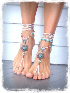 WHITE barefoot Wedding Hippie FLOWER BAREFOOT sandals by GPyoga, $79.00