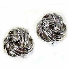 Twist Knot Earrings Vintage Silver Tone Clip On e519