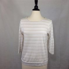 CHICO'S Size 2 = 12/14 Tan White Striped Tee Top Blouse Womens Cotton Modal EUC #Chicos #Blouse #Casual