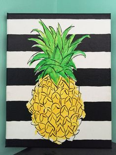 Watercolor Pineapple Canvas Painting 8x10