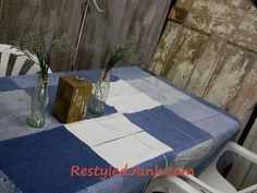 tablecloth made from old blue jeans