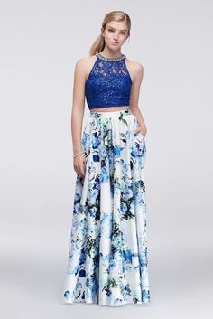 Sequin Lace Top and Floral Skirt Two-Piece Dress - Royal Blue, 13