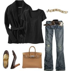 Recreate with capsule wardrobe- bootcut jeans, black t-shirt, black knit wrap cardigan.