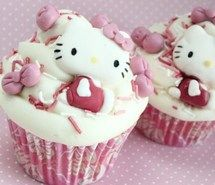 Inspiring picture cupcake, cupcakes, food, hello kitty, pink. Resolution: 500x355 px. Find the picture to your taste!