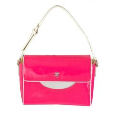 Vintage Courreges Hot Pink & White Patent Leather Handbag | From a collection of rare vintage handbags and purses at http://www.1stdibs.com/fashion/accessories/handbags-purses/