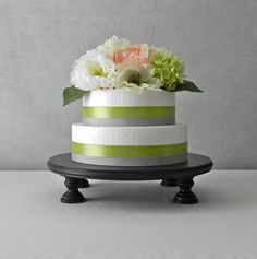 "Love this...Cake Stand Plate 18"" Round Cake Pedestal Black Wooden Fall Wedding By E. Isabella Designs. As Featured In Martha Stewart Weddings..."