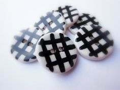 6 Handmade Ceramic Sewing Buttons