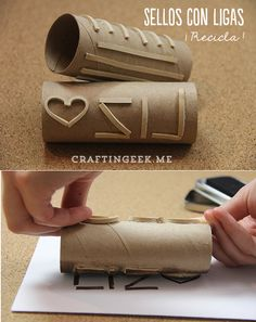 Easy and cheap DIY stamp: Cut rubber bands into pieces, arrange for design with hot glue on toilet paper rolls. Cool way to make custom roller stamps! Toilet Paper Roll Crafts, Paper Crafts, Diy Crafts, Toilet Paper Tubes, Glue Gun Crafts, Art For Kids, Crafts For Kids, Arts And Crafts, Stencil