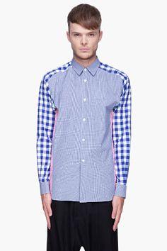COMME DES GARÇONS SHIRT Blue and pink Yarn Dyed Cotton Checks Mix shirt