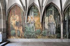 LOUIS II LE GERMANIQUE:  Wandmalerein im Kreuzgang des Fraumünsters in Zürich.