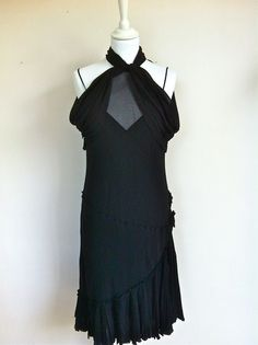 Moschino Black Silk Charlston Dress Size 40 via The Queen Bee. Click on the image to see more!