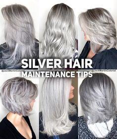 hair highlights short Silver Hair Maintenance Tips 1 week after dyeing your hair silver to wash. Silver Hair Maintenance Tips 1 week after dyeing your hair silver to wash it again. Leave your hair alone for 1 week after getting… Grey Hair Dye, Silver Blonde Hair, Long Gray Hair, Dyed Hair, Short Silver Hair, Silver Hair Styles, Silver Hair Colors, Hair Maintenance Tips, Gray Hair Highlights