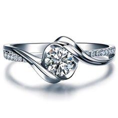 Bague de fiançailles diamant or blanc 14K par ldiamondsforever: