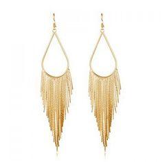 Pair of Fashion Long Tassels Alloy Earrings For Women