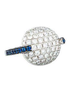 2.33ctw Pav� Diamond & Sapphire Ring