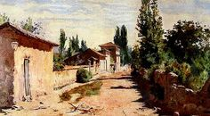 PINTORES LATINOAMERICANOS-JUAN CARLOS BOVERI: Pintores Chilenos: ALBERTO VALENZUELA LLANOS American Realism, American Art, Romanticism, Old Houses, Countryside, Watercolor, Abstract, Architecture, Paintings