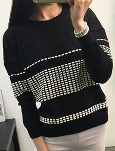Trendy Round Neck Long Sleeve Spliced Loose Sweater For Women