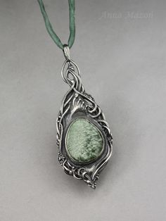 """""""In the eye of the beholder 02"""" - hand formed silver, seraphinite, by Anna Mazoń. www.drakonaria.com"""