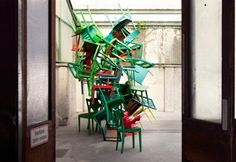 A stack of chairs as art