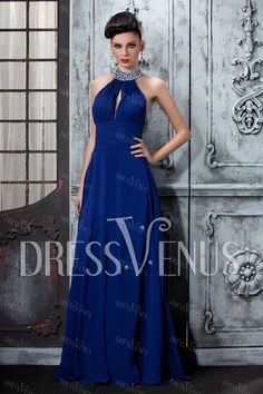 Sexy A-Line Floor Length High-Neck Polina's Evening Dress