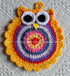 No pattern. Crochet Owls, Crochet Mandala, Cute Crochet, Crochet Animals, Vintage Crochet, Crochet Baby, Crochet Kitchen, Crochet Home, Crochet Crafts