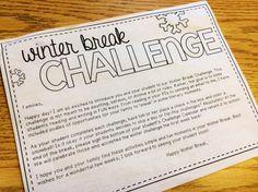 The Brown-Bag Teacher: Winter Break Challenge Re-cap! Abc School, School Days, Holiday Homework, Rules For Kids, Writing Challenge, Holiday Break, School Holidays, Holidays Halloween, Guided Math