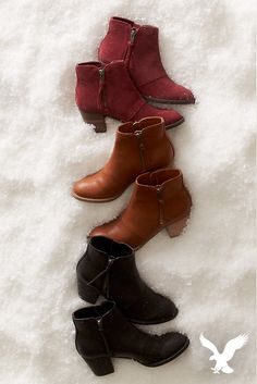 Go to great heights this holiday season in AEO Double Zip Stacked Heel Booties. These boots are great for wearing with dresses and skirts or leggings and skinny denim. Plus, they're so comfortable to walk in. Now available in your favorite colors!