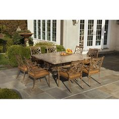 LOVE the set up! I think I could make it work!!!  Alfresco Home Sarasota Cast Aluminum 64 in. Square Patio Dining Set - Seats 8
