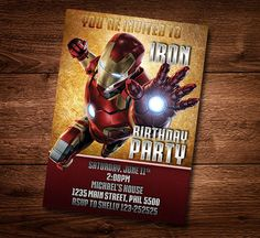 Iron Man Invitation Iron Man Invite Superhero by PiperGraceDigital