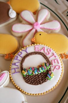 Easter Cookies. ♥ #GhirardelliChocolate @Deana Froio ....these are beautiful. Seems they would take you forever though!