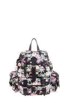 1534106620, BLACK, Floral backpack ,Floral σακίδιο πλάτης