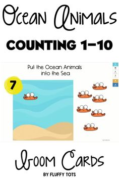 Let's have fun reviewing counting with the friendly ocean animals in this Boom Cards Summer for Preschool : Ocean Animals Counting 1-10!  Have your little ones read the number in the sun, then drag and drop the ocean animals into the sea.  It will be so much fun! Ocean Activities, Motor Skills Activities, Summer Activities For Kids, Math For Kids, Learning Numbers Preschool, Preschool Themes, Kindergarten Fun, Let's Have Fun, Ocean Themes