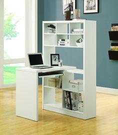 Contemporary White Desk & Bookcase Combination