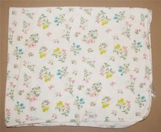 Carters White Pink Turquoise Floral Flowers Vintage Look Receiving Baby Blanket #Carters