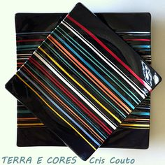 Square plates with colorful stripes.