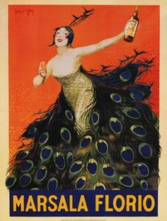 Love the orange and peacock feathers! Great vintage wine poster. #art @Michelle Flynn Flynn Coleman for Art