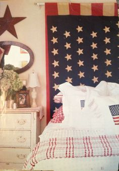 Red white and blue bedroom.