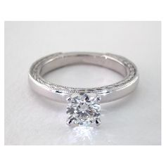 Etched Rope Solitaire Diamond Engagement Ring in 4 Prong Setting
