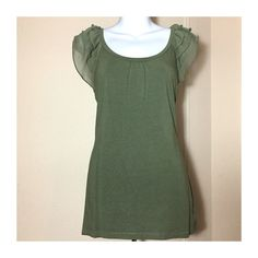 EXPRESS Chiffon cap sleeve top in olive green * EXPRESS brand * Size Medium (stretchy, fitted shape) * Olive green top with sheer chiffon ruffle cap sleeves * Great for everyday casual, or business casual  Comes from my smoke and pet free home   Feel free to use the offer button, and remember you get 15% OFF if you bundle 2+ items  Express Tops Blouses