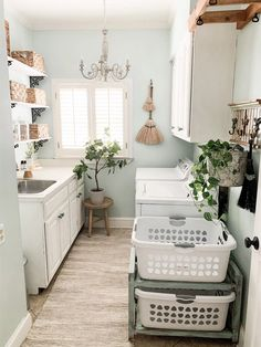 clean and organized laundry room Room, Laundry Room Paint Color, Room Design, Room Organization, Old Time Pottery, Laundry Room Organization, Room Inspiration, Blogger Decor, Laundry Room Rugs