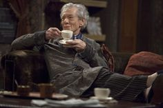Sir Ian McKellen drinking tea on the sofa in the ITV show Vicious. #celebrities #tea