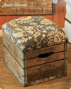 DIY Home Decor | Turn an old milk crate into an upholstered ottoman!