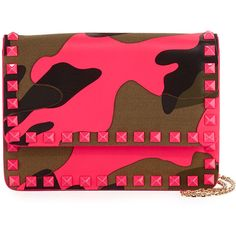 Valentino Rockstud Camouflage-Print Chain Pouch (3,685 CNY) ❤ liked on Polyvore featuring bags, handbags, clutches, pink, valentino handbags, red pouch, leather handbags, red leather handbags and genuine leather handbags