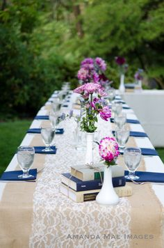 burlap and lace table runners, book centerpieces, navy and pink wedding! Like Without the navy. Navy Wedding Flowers, Purple Wedding, Pink Flowers, Wedding Dresses, Book Centerpieces, Wedding Centerpieces, Centrepieces, Wedding Favors, Lace Table Runners