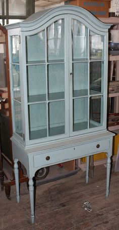 Blue Distressed China Cabinet by paintedpretty, via Flickr