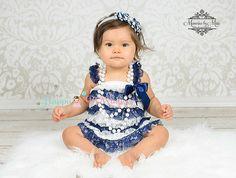 nautische Kleid Baby-Mädchen-Kleid Marineblau von HappyBOWtique