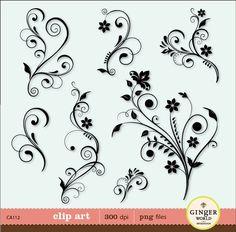 Flower Flourish Swirl Decorative clip art digital illustration for DIY invitation - instant download (CA112)