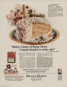 1920's SWANS DOWN CAKE FLOUR AD / BANANA NUT CAKE + RECIPE - GREAT ARTWORK