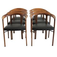Set of Six Dining Chairs by Franco Poli | From a unique collection of antique and modern dining room chairs at https://www.1stdibs.com/furniture/seating/dining-room-chairs/